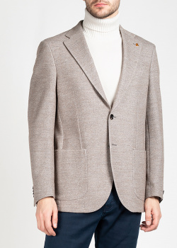 Бежевый пиджак Sartoria Latorre с накладными карманами, фото