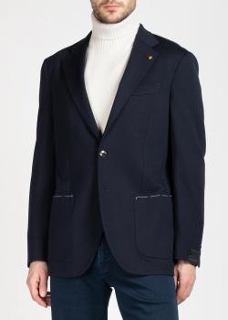 Темно-синий пиджак Sartoria Latorre с контрастной строчкой на карманах, фото