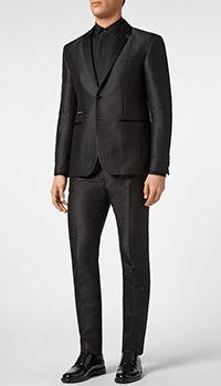Темно-серый костюм Philipp Plein c жаккардовым узором, фото