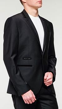 Черный пиджак Philipp Plein с брендовым лого, фото