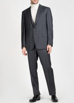 Клетчатый костюм Brioni из шерсти серого цвета, фото
