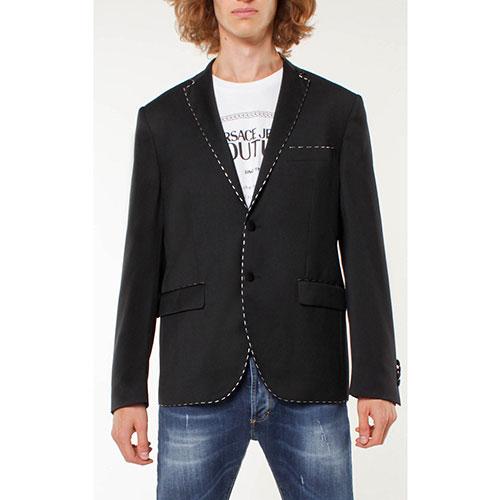 Черный пиджак Frankie Morello с белой строчкой, фото