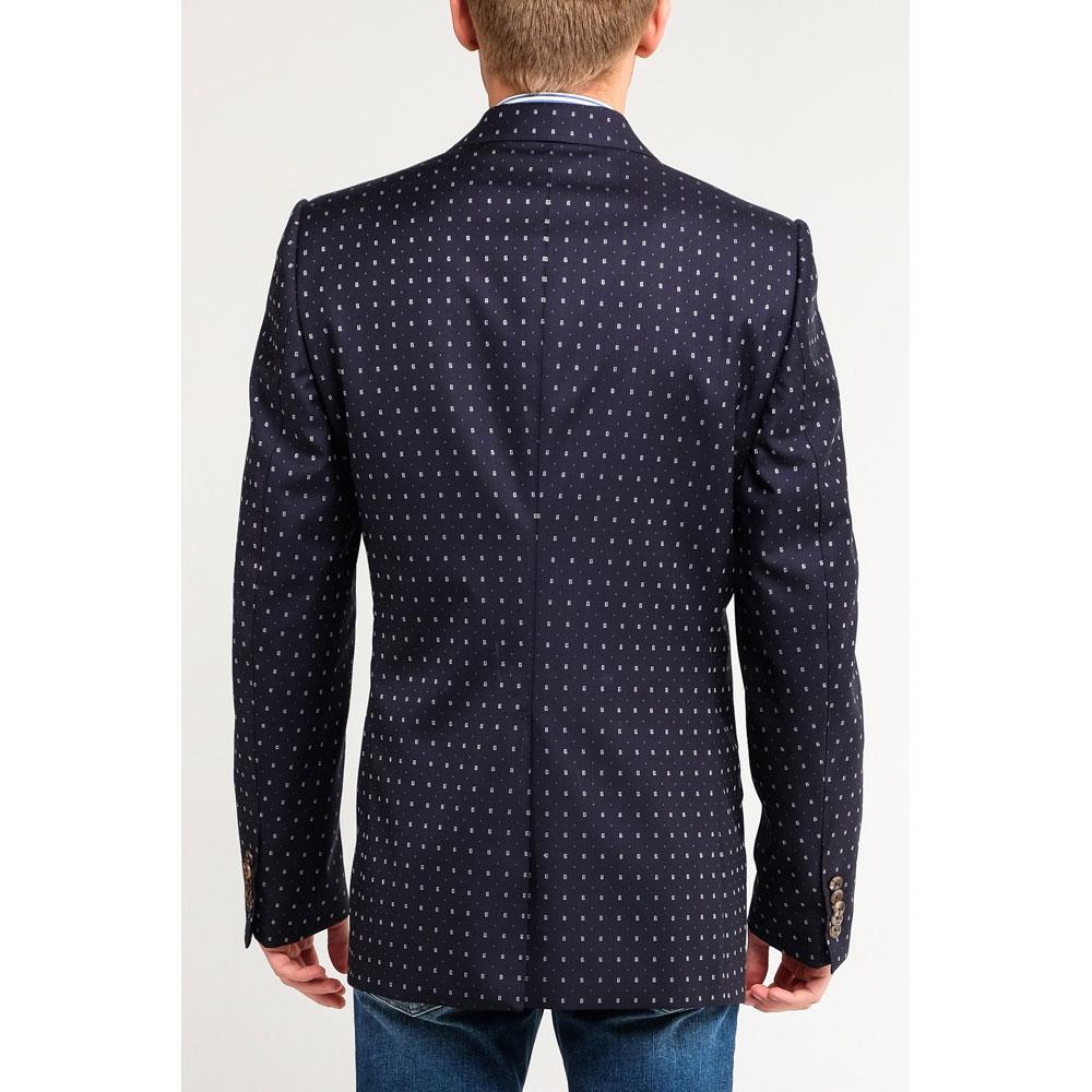 Темно-синий пиджак Gucci с мелким белым принтом