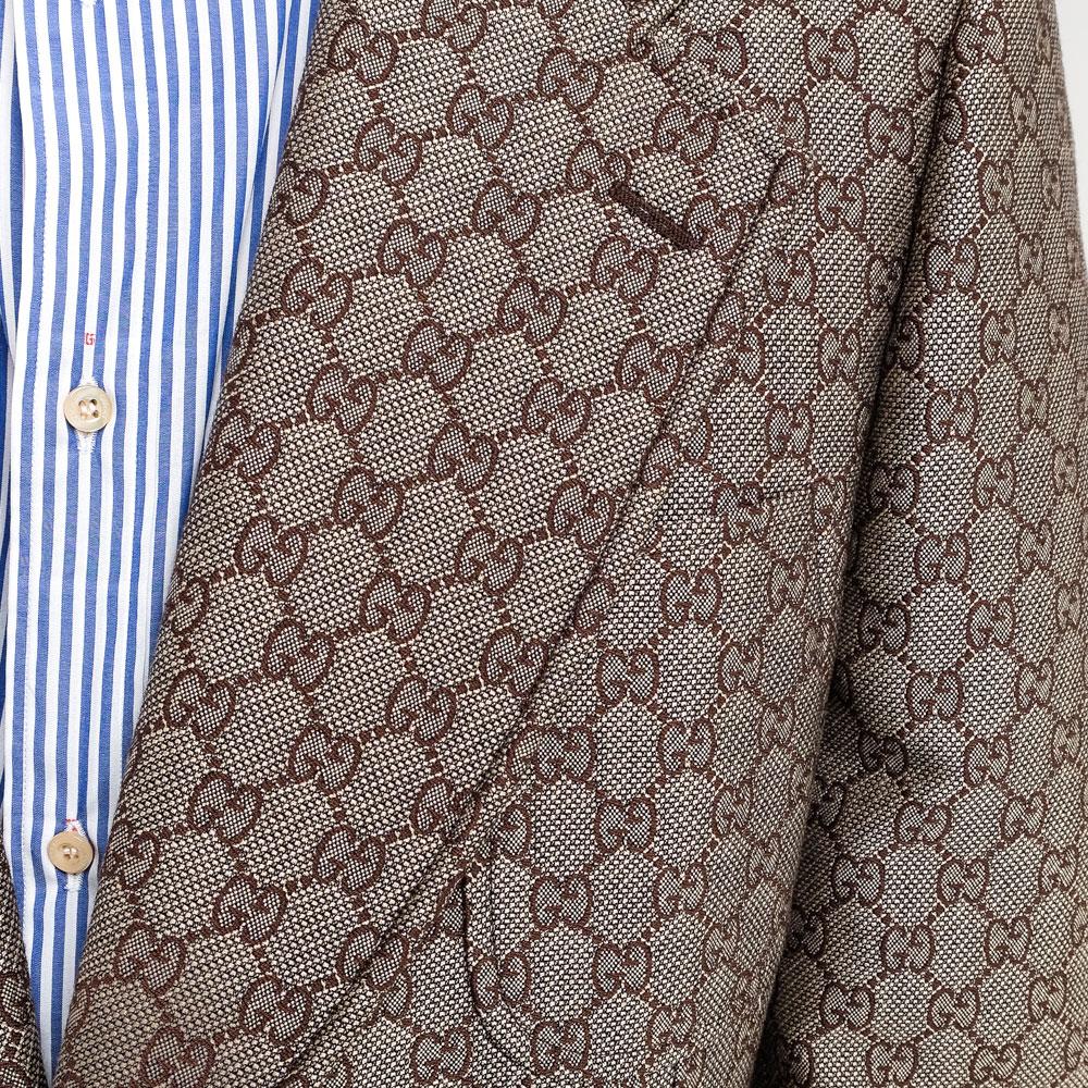 Мужской пиджак Gucci с брендовым принтом