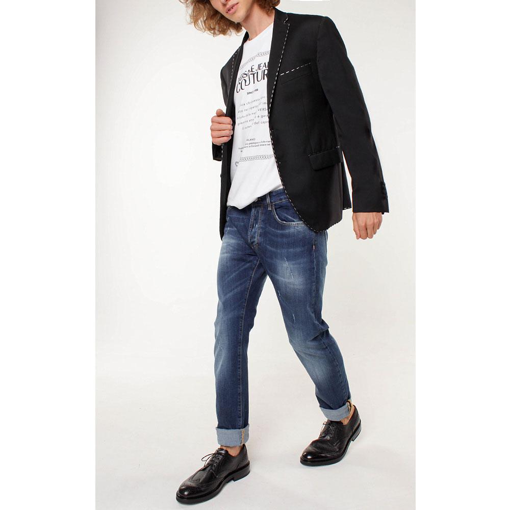 Черный пиджак Frankie Morello с белой строчкой