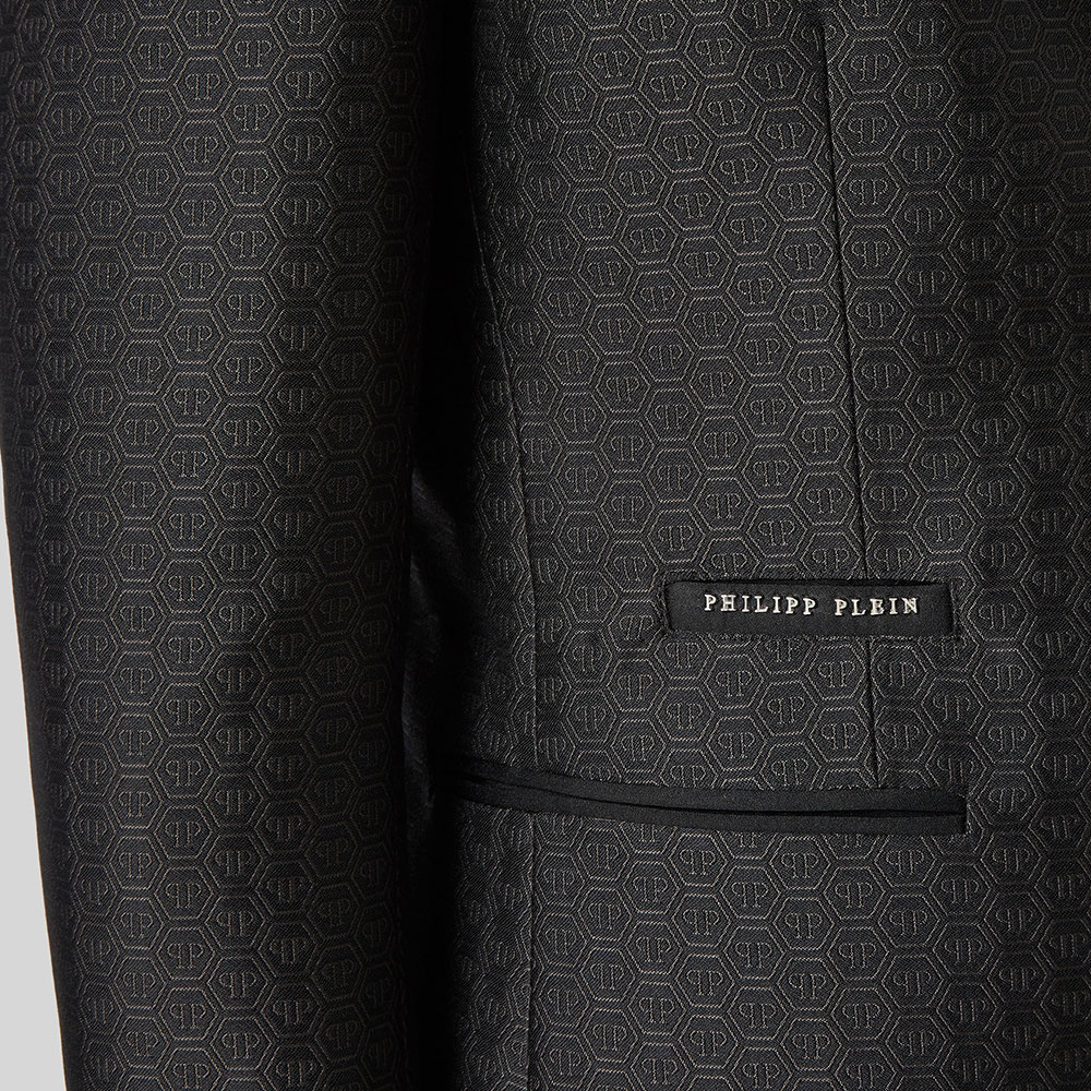 Темно-серый костюм Philipp Plein c жаккардовым узором