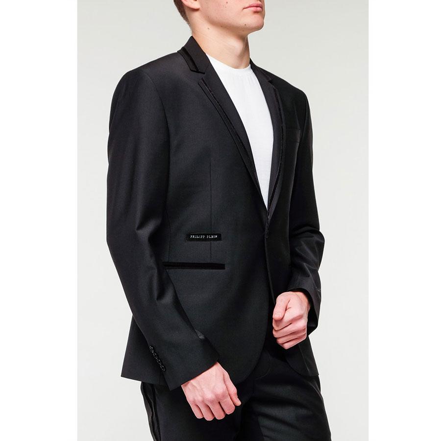 Черный пиджак Philipp Plein с брендовым лого