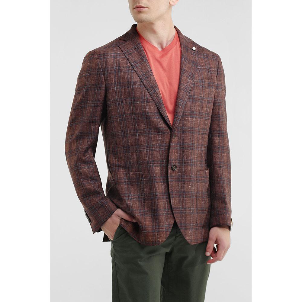 Клетчатый пиджак Lubiam коричневого цвета
