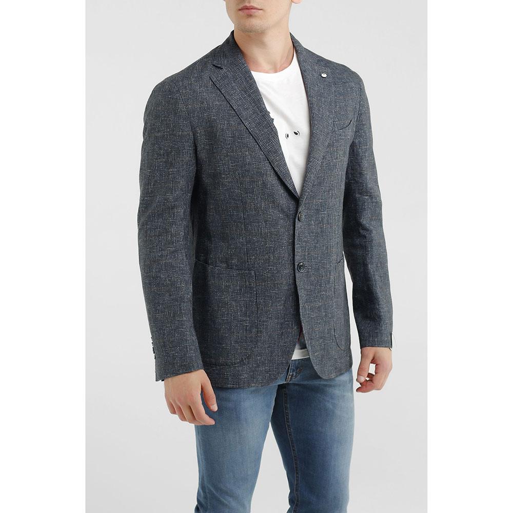 Льняной пиджак Lubiam в клетку синего цвета