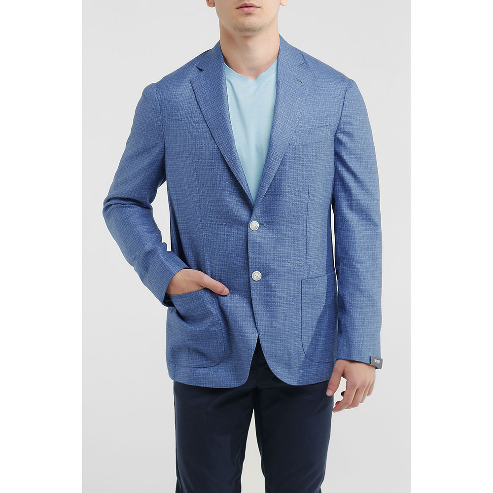 Синий пиджак Barba из шелка и кашемира