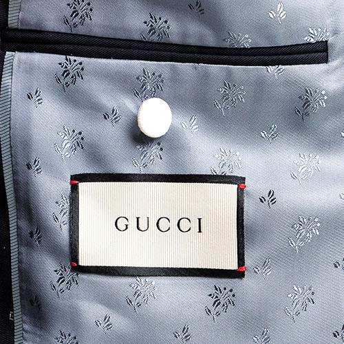 Темно-синий пиджак Gucci с мелким белым принтом, фото
