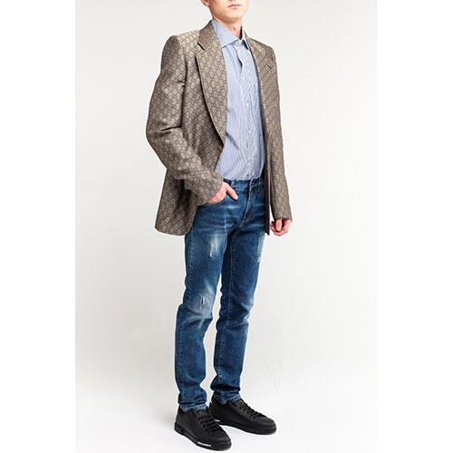 Мужской пиджак Gucci с брендовым принтом, фото