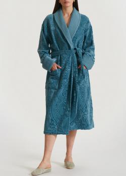 Синий халат La Perla Home Lumiere Accappatoio с орнаментом, фото