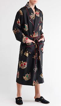 Мужской халат Dolce&Gabbana с принтом-коронами, фото