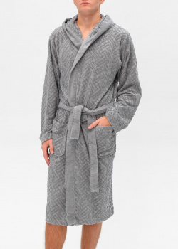 Мужской халат Hugo Boss серого цвета с узором, фото