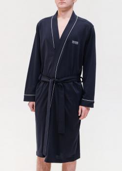 Синий мужской халат Hugo Boss с логотипом, фото