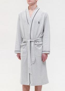 Серый мужской халат Polo Ralph Lauren с накладными карманами, фото