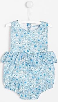 Голубой детский комбинезон Jacadi с цветочным принтом, фото