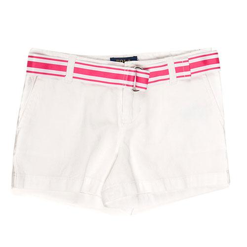 Белые шорты Polo Ralph Lauren с полосатым поясом, фото