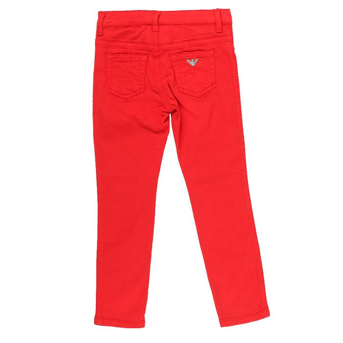 Красные брюки Emporio Armani со значком-лого на кармане