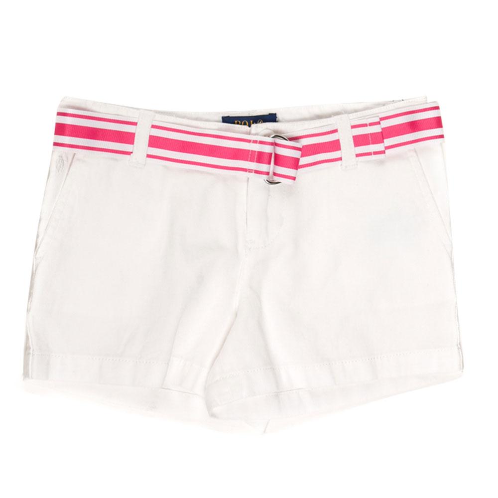 Белые шорты Polo Ralph Lauren с полосатым поясом