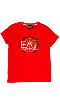 Красная футболка Emporio Armani с лого, фото