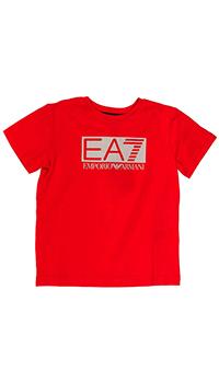 Футболка с лого Emporio Armani красного цвета, фото