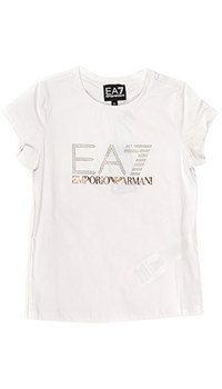 Белая футболка Ea7 Emporio Armani с лого, фото
