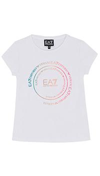 Детская футболка Ea7 Emporio Armani с разноцветным лого, фото