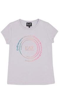 Лиловая детская футболка Ea7 Emporio Armani с круглым воротником, фото
