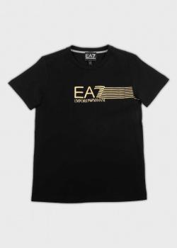 Черная футболка EA7 Emporio Armani для детей, фото