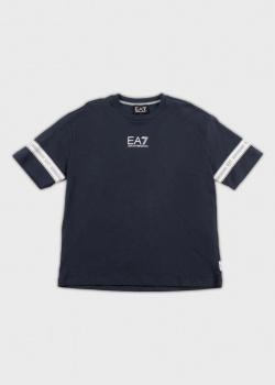 Синяя футболка EA7 Emporio Armani для детей с лого, фото