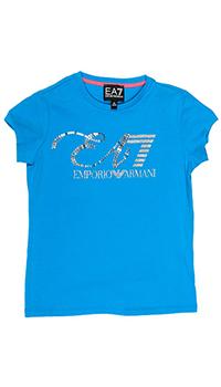 Футболка Emporio Armani с серебристым принтом-лого, фото