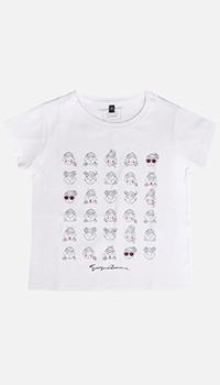 Детская футболка Emporio Armani белая с принтом, фото