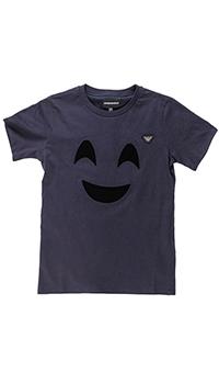 Темно-синяя футболка Emporio Armani со смайлом, фото