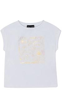 Детская футболка Emporio Armani с золотистым принтом, фото