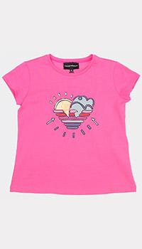 Розовая футболка Emporio Armani для девочек, фото