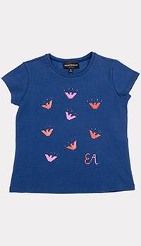 Детская синяя футболка Emporio Armani с принтом, фото