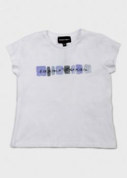 Детская футболка Emporio Armani с брендовой надписью, фото