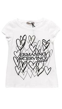 Белая футболка Ermanno Scervino с принтом-сердцами, фото