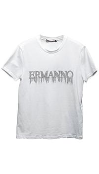 Белая футболка Ermanno Scervino с лого из камней, фото