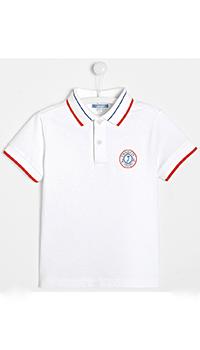 Белое детское поло Jacadi с логотипом, фото