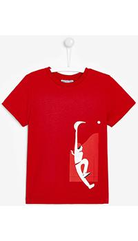 Красная футболка с принтом Jacadi для мальчиков, фото