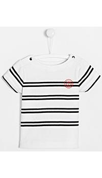 Полосатая белая футболка Jacadi для детей, фото