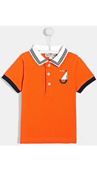 Детское оранжевое поло Jacadi с контрастными деталями, фото