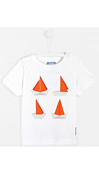 Белая детская футболка Jacadi с принтом-корабли, фото