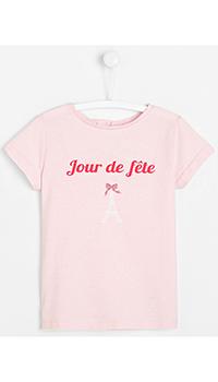 Розовая футболка с принтом Jacadi для девочек, фото