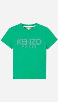 Детская футболка Kenzo зеленого цвета, фото