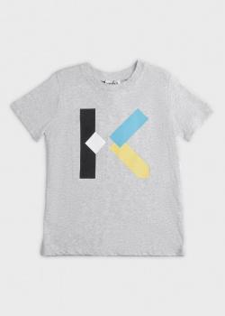 Детская футболка Kenzo серого цвета с принтом, фото