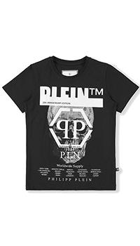 Черная футболка Philipp Plein с принтом из страз, фото